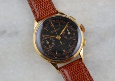 Lebois and Co 1940s Chronographe Antimagnetic Telemetre Gold with Black Dial
