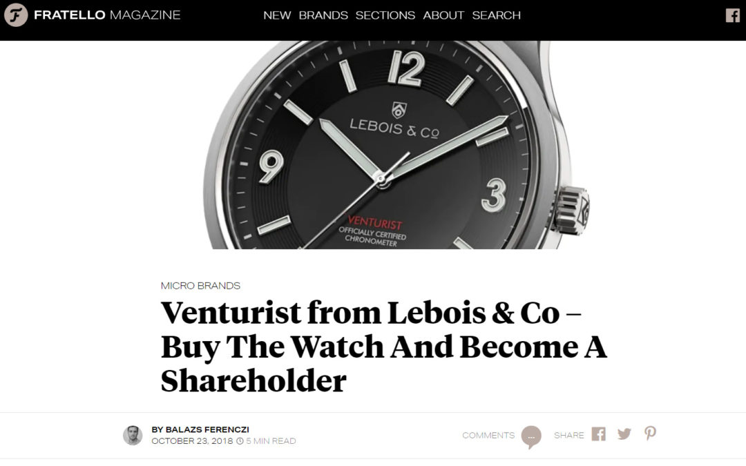 Lebois & Co Venturist announcement on Fratello Watches