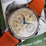 7 cream dial blue leaf hands lumed indexes blue tachymeter scale